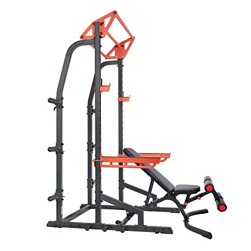 Sunny Health & Fitness Power Zone Half Rack Power Cage with Weight Bench
