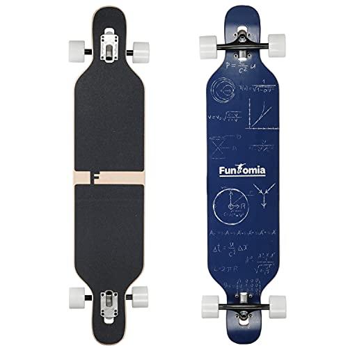 FunTomia Longboard Skateboard Drop Through Cruiser Tabla completa con rodamientos de bolas de alta velocidad Mach1 T-Tool con y sin ruedas LED