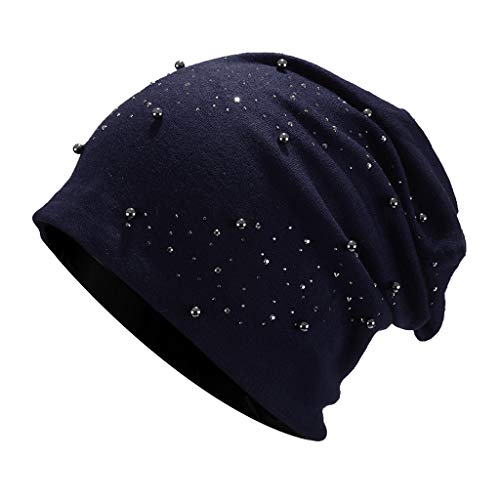 Jamicy  Women Stretch Headgear Beanie Skull hat Beading Pearl Head Scarf Wrap Hat Cap Drilling Versatile Warm Month Cap hat Pile hat (Navy)