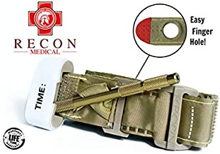 Recon Medical TANTQTourniquet - (TAN) Gen 3 Mil-Spec Kevlar Metal Windlass Aluminum First Aid Tactical Swat Medic Pre-Hospital Life Saving Hemorrhage Control Registration Card 1 Pack