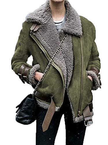 x8jdieu3 Abrigo Superior Chaqueta Sin CinturóN De Lana Con Cremallera Abrigo De Piel De Solapa Con Costura De Collage Para Mujer
