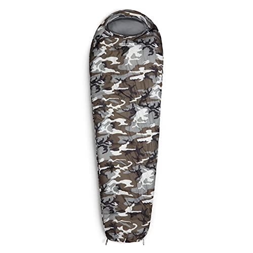 Lumaland Outdoor Schlafsack Mumienschlafsack, 230 x 80 cm, inklusive Packsack, 50 x 25 cm gepackt Camouflage grau