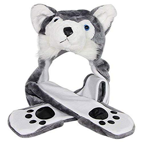 Husky Timber Wolf Plush Animal Hat with Scarf Mittens with Paw Prints (Long)