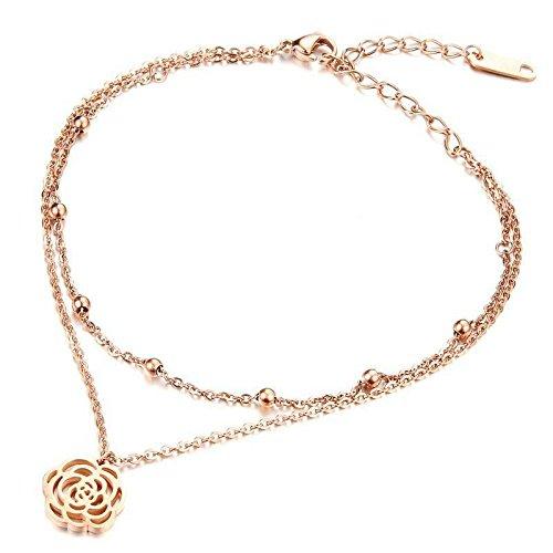 Hypoallergene Fashion Trend Hollow Camellia Twee-Tier Rose Goud Enkel Titanium Staal Plaat Ovens Rose Goud Vrouwen Voetbal Armband Sieraden