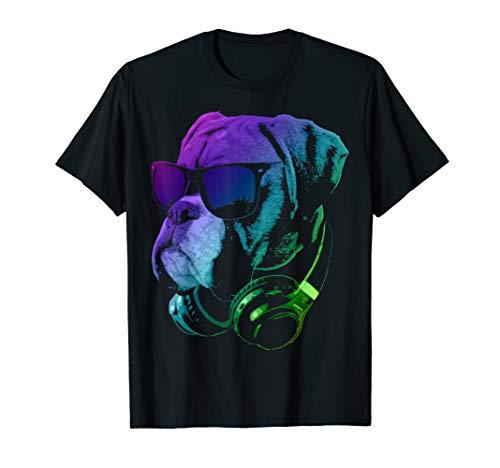Deutscher Boxer mit DJ Kopfhörer und Sonnenbrille T-Shirt