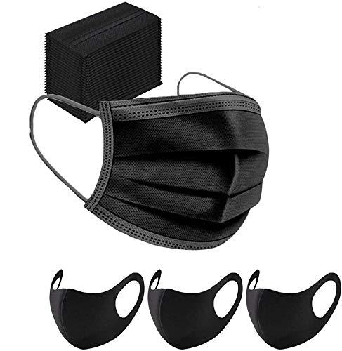 IDEAPARK 50 x Mundschutz Maske Schutzmaske Plus 3 x Mund und Nasenschutz Waschbar Staubschutzmaske Wiederverwendbar Atmungsaktiv Mundschutz Winddicht Unisex Halstuch