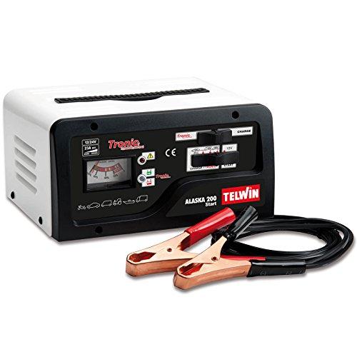 Telwin Elements ALASKA 200 START Autobatterie Ladegerät und Startgerät für 12V/24V Batterien, Ladestrom bis zu 23 A, Startstrom 100 - 150 A, Kapazität bis zu 300 Ah