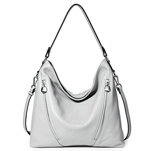 BOSTANTEN Women Leather Handbag Designer Large Hobo Purses Shoulder Bags Grey