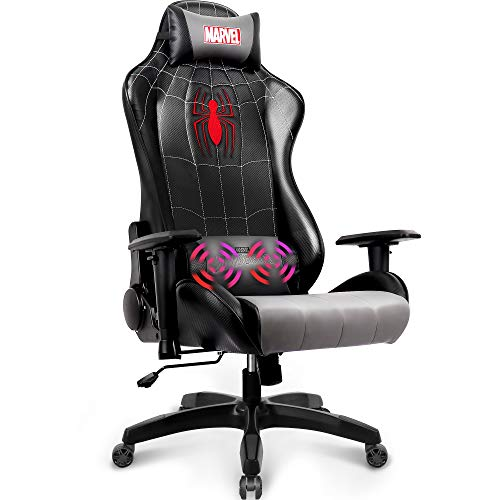 Marvel Avengers Massage Gaming Chair Desk Office Computer Racing Chairs - Adults Gamer Ergonomic Game Reclining High Back Support Racer Leather (Spider-Man)