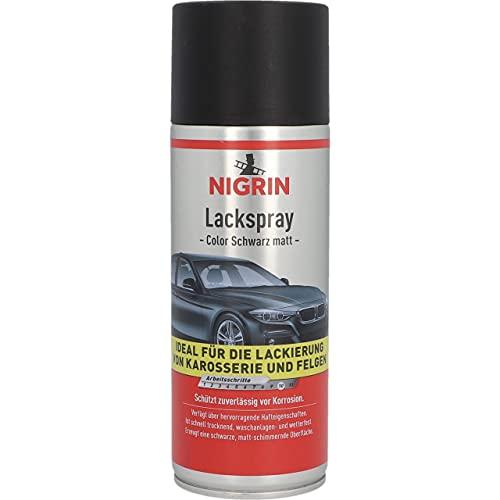 Nigrin 74112 Lackspray, mattschwarzer Autolack, 400 ml, schützt Felgen und Karosserie vor Rost, schnell trocknend