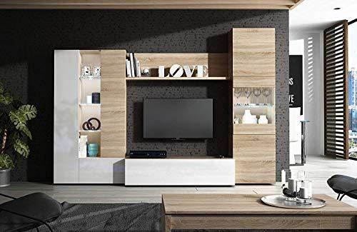 Parete Attrezzata Mobèl Mobile Soggiorno TV con Mensola Illuminazione LED Salotto Legno Base Televisione Sala da Pranzo Design Moderno 260 x 185 x 42 cm Colore Bianco Lucido e Rovere