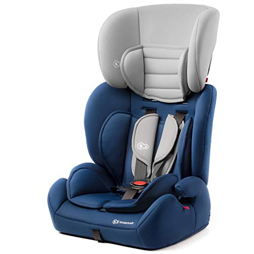 Kinderkraft Kinderautositz CONCEPT, Autokindersitz, Autositz, Kindersitz, Gruppe 1/2/3 9-36kg, 5-Punkt-Sicherheitsgurt, Einstellbare Kopfstütze, ECE R44/04, Blau