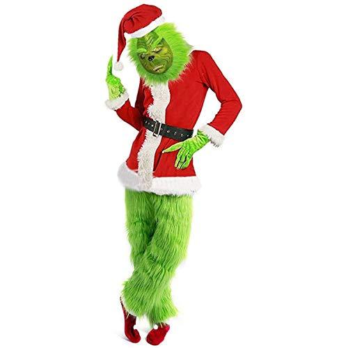 W-life 7pcs Furry Grinch Costume Adulto di Grandi Dimensioni Abito con Decorazioni di Natale Maschera Vestito Cappello della Santa, Casacca, Cintura in Vita, Guanti, Pantaloni, Copriscarpe