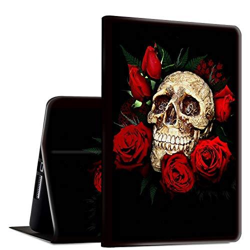 Funda para Galaxy Tab A 8.0 2017 2015 modelo antiguo (SM-T380 T385), Rossy funda de pie ajustable para Samsung Galaxy Tab A de 8 pulgadas, calavera y rosas