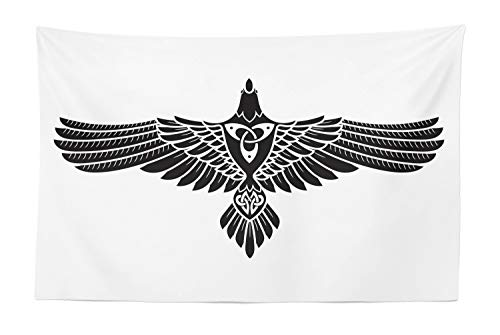 Lunarable Raven Tapestry, Norse Theme Bird in Celtic Design Monochrome Style Illustration Print, Fabric Wall Hanging Decor for Bedroom Living Room Dorm, 45' X 30', Charcoal Grey