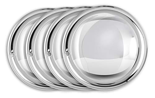 "Moon Caps 13\"" Zoll (2x) Edelstahl poliert Radzierblenden Radkappen Radblenden~"