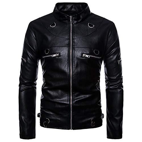 Heren leren jas met lange mouwen, zwart multi-Zip mode leren jas, knappe motorfiets reparatie jas