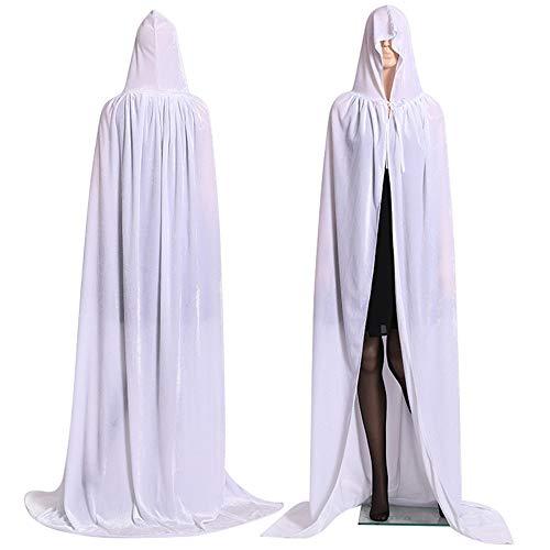 Nicole Knupfer Capa larga de vampiro con capucha, unisex, capa larga con capucha, para adultos y niños, disfraz para Halloween, medieval, pagano, carnaval, fiesta (blanco, XL: 170 cm)