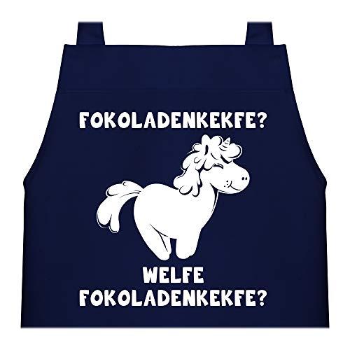 Shirtracer Kinderschürze mit Motiv - Fokoladenkekfe Einhorn - 60 cm x 50 cm (H x B) - Navy Blau - Statement - X978 - Kochschürze und Schürze für Kinder