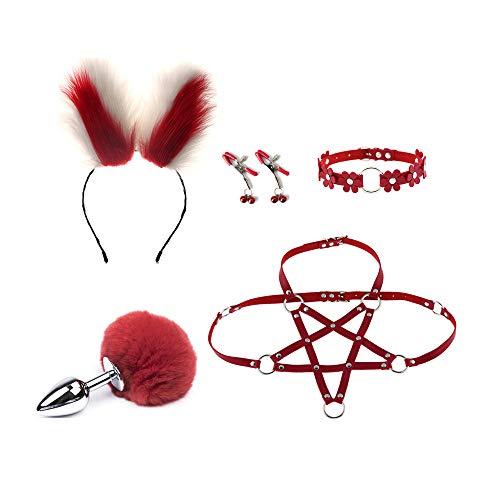 Lover Gift Cosplay Set Lace Hairhoop con Fox Ânâl Plụģ Bûtt Plụģ Séx Tail Conjunto de lencería Festival de Halloween Rave Disfraz color 4