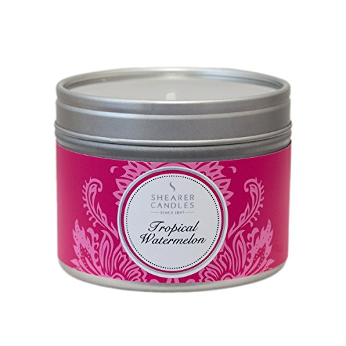 Shearer Candles Tropical Watermelon Small Scented Silver Tin Candle-White, l x 6cm w x 4.7cm h