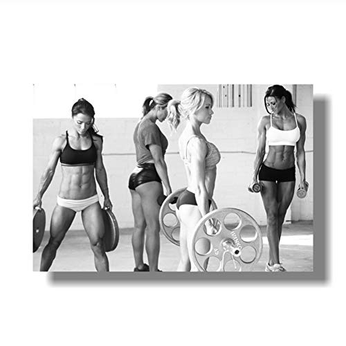 Suuyar 5STARS Sexy Women Fitness Bodybuilding Motivational Art Poster Fitness Exercise Wall Pictures Gym Room Print on Canvas -60x80cm No Frame
