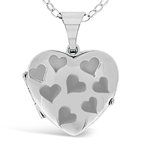 Sterling Silver Heart Locket with 2 photo windows, 18' Chain & Jewellery Gift Box