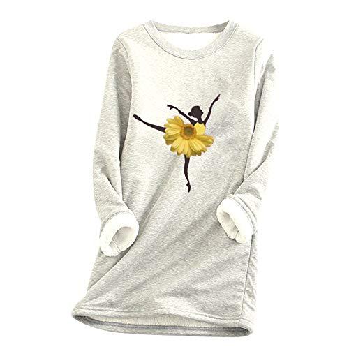 Sudaderas gruesas para mujer, forro polar Sherpa, estampado de girasol, ballet, 10 colores, cálido, acogedor, cuello redondo, blusa de jersey, tallas grandes (S-5XL)