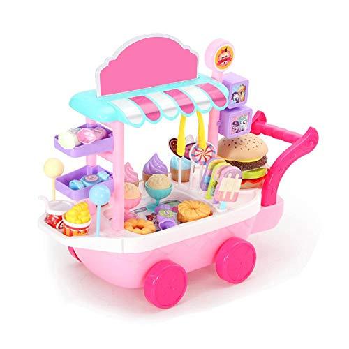 ❤ Juguete educativo: este juego de carrito de helados explorará una variedad de lecciones de vida y temas educativos con su bebé y alentará su imaginación. Diseñar y compartir sus propias creaciones de helados le permite a su hijo desarrollar la crea...