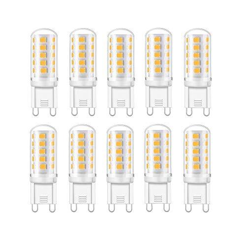 Vlio 5W G9 LED Lampe, 6000k kaltweiß Kein Flackern LED Leuchtmittel, 400 Lumen, Nicht Dimmbar 360 Grad Winkel, Ersatz 40W G9 Halogenlampe, 10er Pack