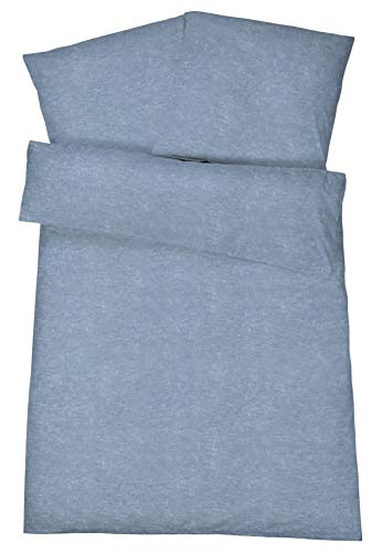 Carpe Sonno weiche Biber Bettwäsche 135 x 200 cm Sterling-Blau Uni Melange Design - Winterbettwäsche mit Reißverschluss aus 100% Baumwolle Flanell - 2-TLG Bettwäsche Set mit Kopfkissen-Bezug