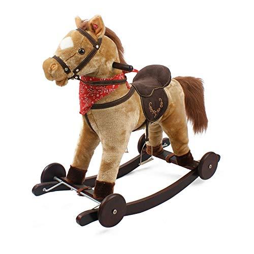 giordanoshop Cavallo a Dondolo Berlin in Peluche e Legno con Ruote e Suoni per Bambini