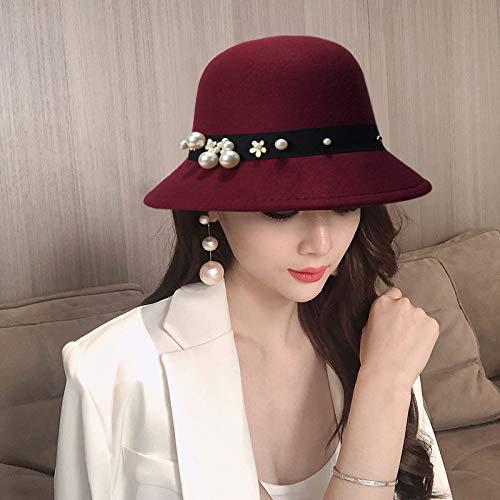 Sombrero de Copa para Mujer otoño e Invierno Inglaterra cúpula Moda Perla imitación Lana para Mujer Sombrero de Lavabo a Prueba de Viento y Sombrero para el Sol a Prueba de Viento