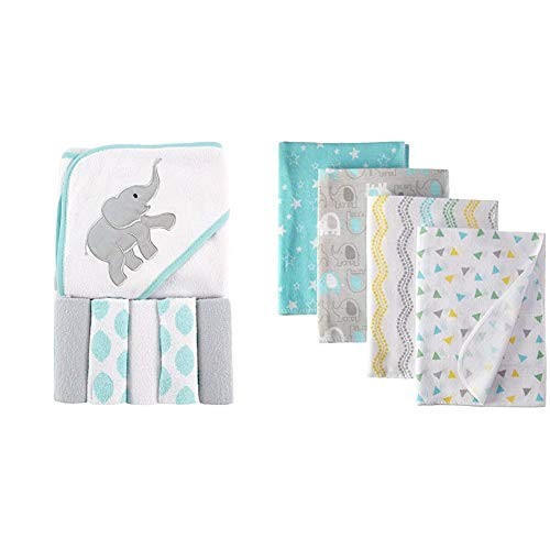 Luvable Friends Unisex Baby Hooded Towel with Five Washcloths, Ikat Elephant, One Size and Luvable Friends Unisex Baby Cotton Flannel Receiving Blankets, Basic Elephant, One Size