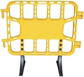 Pal - Valla de plástico obra peatonal en color amarillo de de 1 metro con patas extraíbles