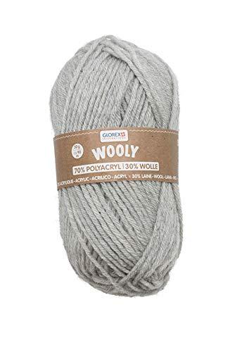 Glorex 5 1002 05 Wooly - Ovillo de lana (70% acrílico, 30% lana, muy suave y cálida, agradable de llevar, 50 g, aprox. 90 m, color gris claro, ideal para gorros, bufandas y calentadores.