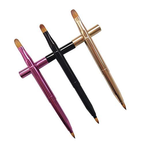 Minkissy 3 stücke versenkbare lippenpinsel concealer pinsel dual ended reise lippenstift glanz make-up pinsel mit kappe für damen mädchen (golden lila schwarz)