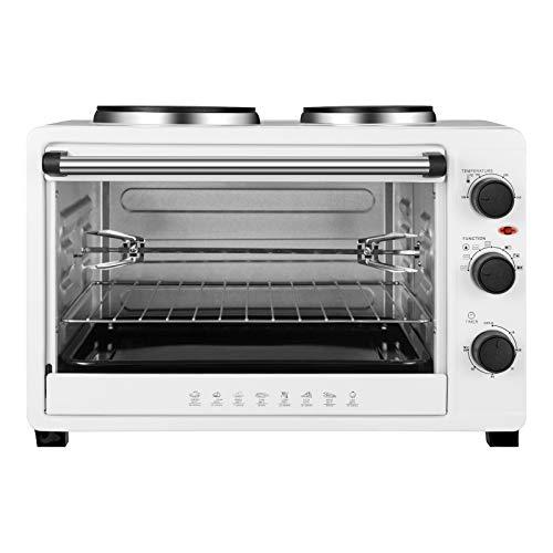 WOLTU BF13ws Minibackofen 48 Liter, Toastofen Backofen Pizzaofen Mit Timer Herausnehmbares Krümelblech Mini Ofen 100-250℃ 2000 Watt, Weiß