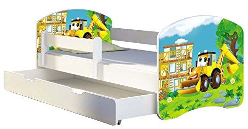 Kinderbett Jugendbett mit einer Schublade und Matratze Weiß ACMA II 140 160 180 40 Design (180x80 cm + Bettkasten, 20 Bagger)