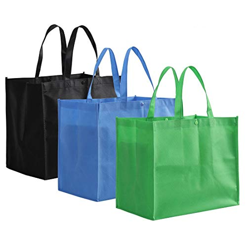 Tosnail 12 Pack Large Foldable Reusable Grocery Tote Bags Shopping Bags  Black Blue Green