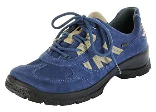 Legero Sportschuhe denium blau Leder Gore-TEX Damen Outdoor Schuhe 7-03541-84, Farbe:blau, Größe:4