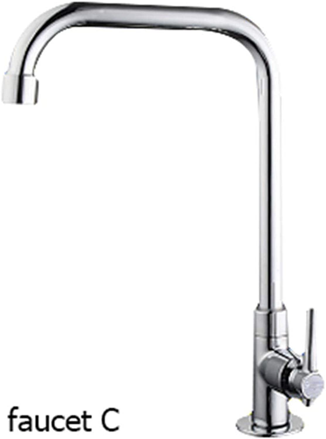 360 Degree Swivel Alloy Kitchen Cold Kitchen Tap Single Hole Water Tap Kitchen Faucet,Faucet C