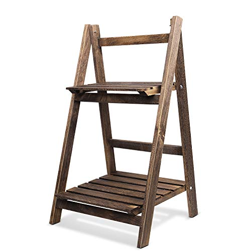 Flexzion Wooden Ladder Shelf Rustic Plant Stand 2 Tier Foldable Shelves for Indoor Outdoor Garden, Multi-Tiered A Frame Herb Stand Collapsible Freestanding Decorative Natural Wood Display Rack
