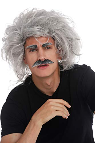 WIG ME UP- 31999-FR68A Peluca Carnaval Halloween Einstein científico Loco Abuelo Profesor Gris Salvaje Bigote