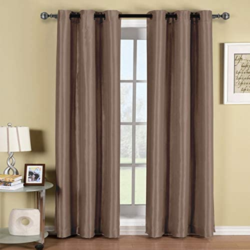 Soho Mocha Grommet Blackout Window Curtain Panel Solid Pattern 42x84 inches by Royal Hotel product image