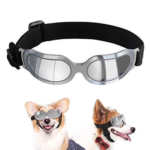 VavoPaw Occhiali da Sole per Cani di Piccola Taglia Regolabile, Protezione UV Occhiali Antivento Impermeabile per Cuccioli Occhiali Protettivi per Animali Domestici Resistenti - Argento