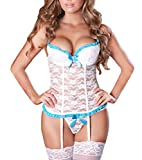 EVAbaby Plus Size Sexy Corset Lingerie Set for Women for Sex Exotic Wedding Garter Belt Floral Lace Sleepwear White L