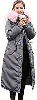 Leomodo Women Winter Duck Down Hoodie Thicken Solid Big Fur Collar Cotton Outerwear