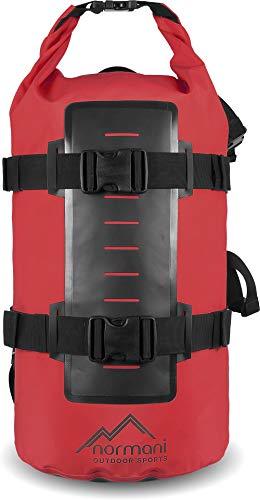 normani Rucksack Wasserdichter Trekking-Rucksack aus LKW-Plane, 40 Liter Farbe Rot
