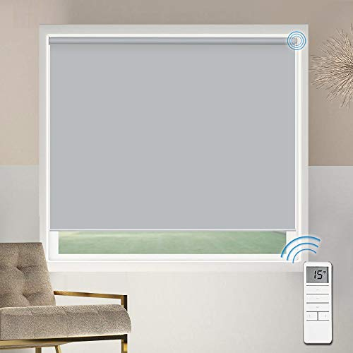 Motorized Blackout Window Shades Blinds, Remote Control Wireless and Rechargeable, Light Grey Roller...